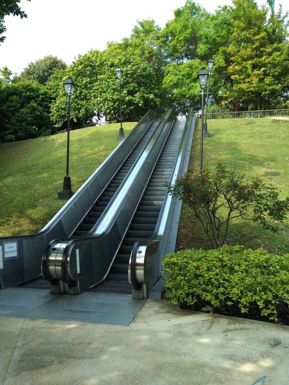 Rolltreppe zwischen grünen Wiesen