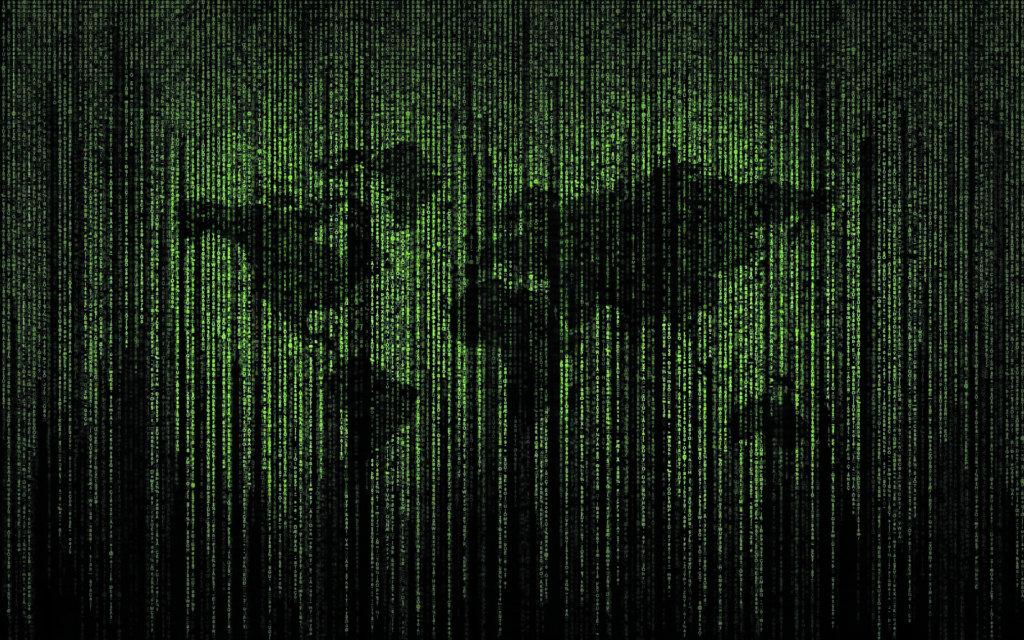 Weltkarte aus kyrptischen Matrix-Symoblen